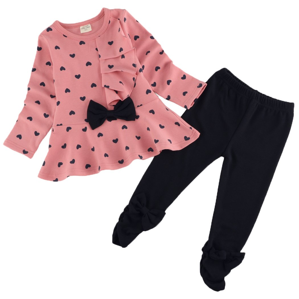 BELLE-LILI Little Girls 2PCS Long Sleeve Heart Print Top and pant Set Outfit