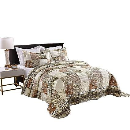 Amazon Com Marcielo 3 Piece Quilted Bedspread Leopard Print Quilt