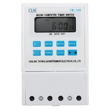 MASUNN 220V 25A Lcd Digital Micro Computadora Programable Tiempo Temporizador Reloj Interruptor Relé: Amazon.es: Hogar