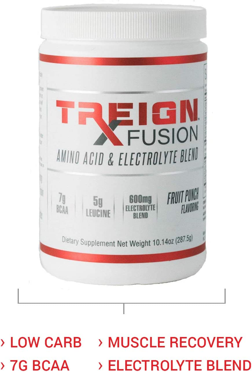 TREIGN Fusion BCAA Electrolyte Post Workout Recovery – 7 BCAA Grams, 25 Servings, Caffeine Free Energy Blend, Only 3g of Carbs, Hydrate Your Body and Increase Blood Flow to Working Muscles