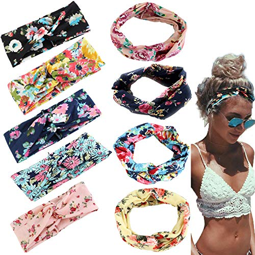 Adramata 9 Pcs Headbands for Women Girls Wide Boho Knotted Yoga Headband Head Wrap Hair Band ()