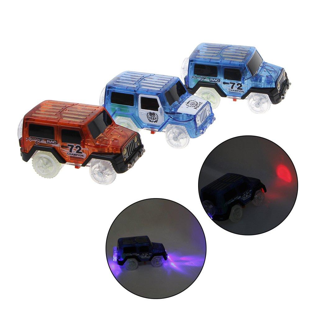 Exing /Électronique Sp/écial Car for Magic Track 3 lumi/ères Clignotantes /à LED Cadeau Enfants Petite Voiture Jeep Rouge
