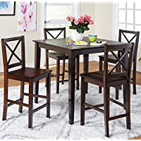 5-piece Counter Height Dining Room Set Dinette Sets Kitchen for 4 Persons. Home Dinning Room Furniture 4 Chairs Stools Made of Rubberwood, One Dinning Table Pub Table Made of Wood … (Espresso)