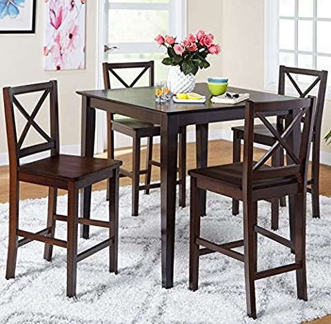 5-piece Counter Height Dining Room Set Dinette Sets Kitchen for 4 Persons. Home Dinning Room Furniture 4 Chairs Stools Made of Rubberwood, One Dinning Table Pub Table Made of Wood … - Pub Table Dinette