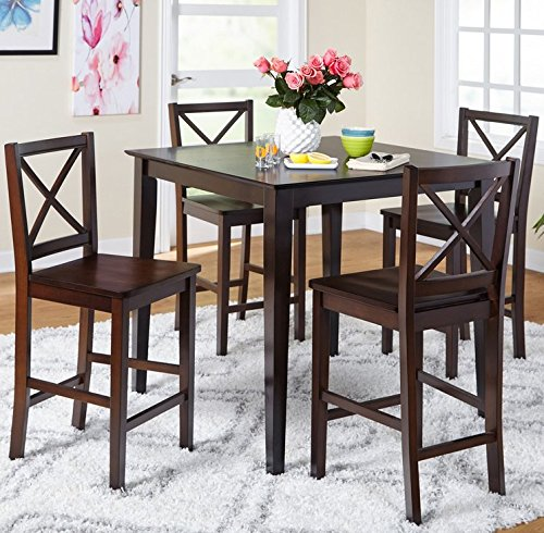5-piece Counter Height Dining Room Set Dinette Sets Kitchen for 4 Persons. Home Dinning Room Furniture 4 Chairs Stools Made of Rubberwood, One Dinning Table Pub Table Made of Wood … (Pub Dinette)