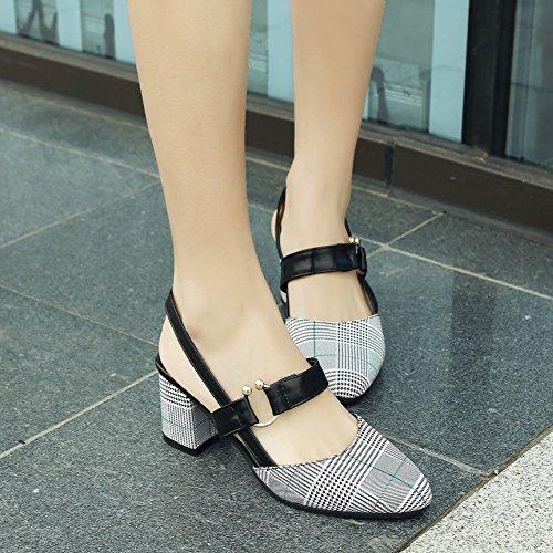 Mee Shoes Damen Chunky Heels Slingback Spitz Pumps Grün