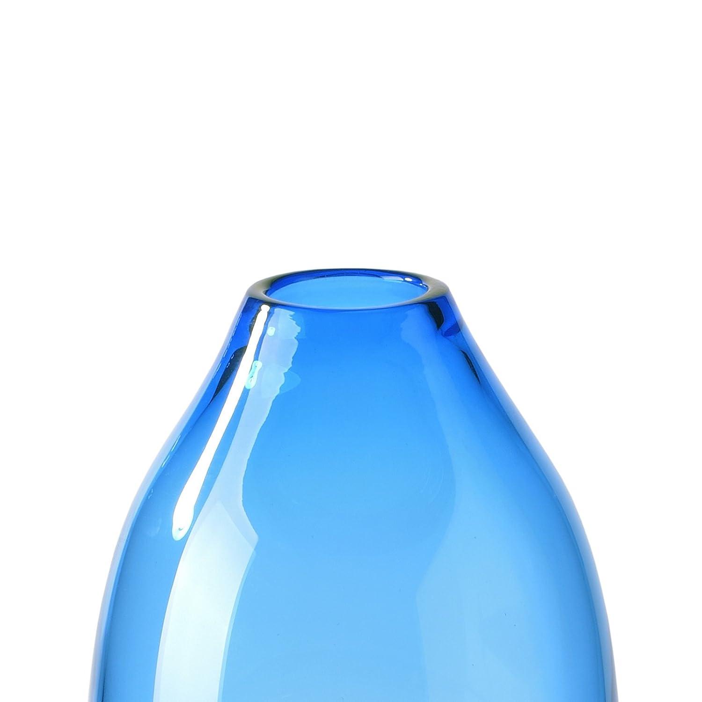 CASAMOTION jarrones Jarrón de Arte en Vidrio soplado a Mano, único Diseño de Ondas Pieza Central Caja de Regalo de jarrones para Mesa, Decoración, Azul, ...