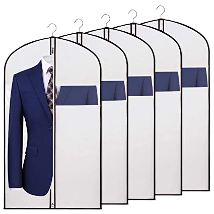 dce1643e75c4 KEEGH Garment Covers Bag for Storage and Travel,Anti-Moth  Protector,Foldable for Dress Dance Costumes Suits Gowns Coats,White (24