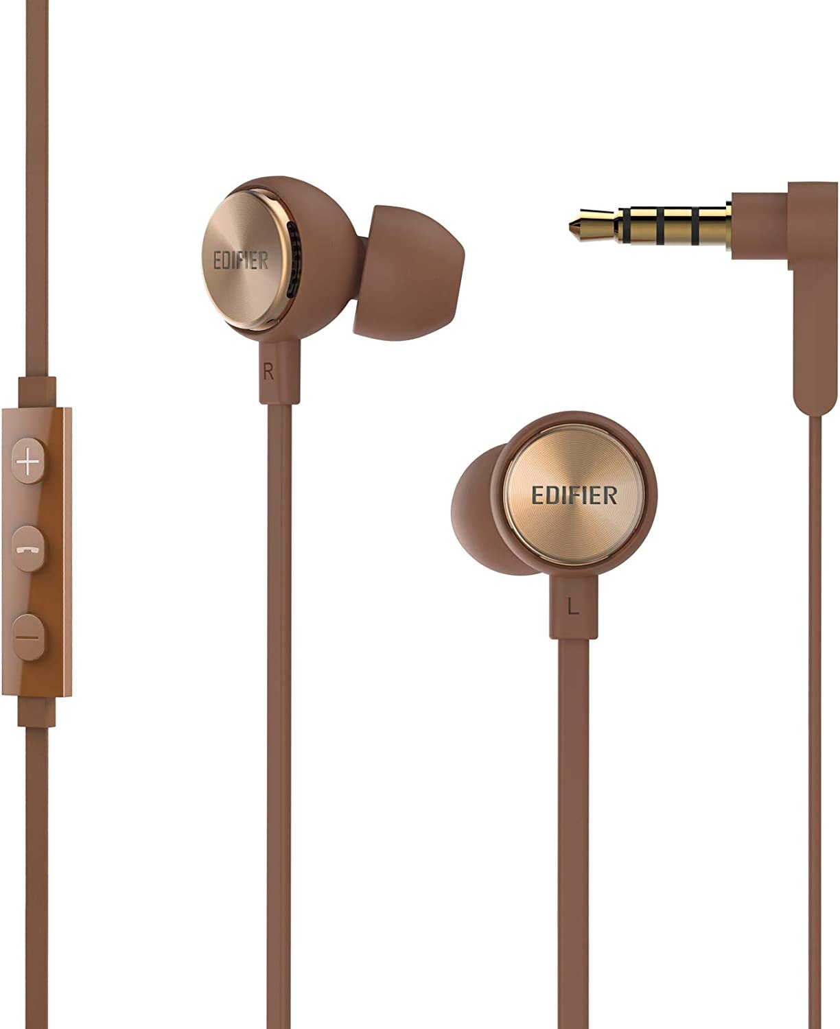 Amazon Com Edifier P293 Plus Computer Headset In Ear Earphones Inline Volume Playback Controls Flat L Shaped Cable Comfortable Eartips Brown Electronics
