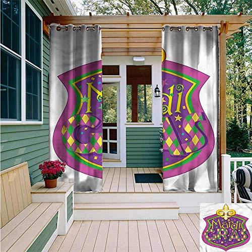 Beihai1Sun Outdoor Grommet Top Curtain Panel,Mardi Gras Fleur De Lis Blazon,for Patio/Front Porch,W84x84L