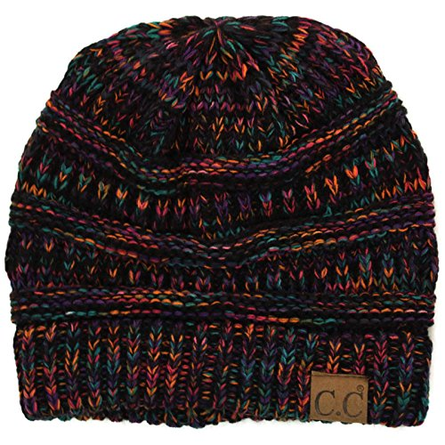 CC Quad Color Warm Chunky Thick Stretchy Knit Slouchy Beanie Skull Cap Hat Black Multi