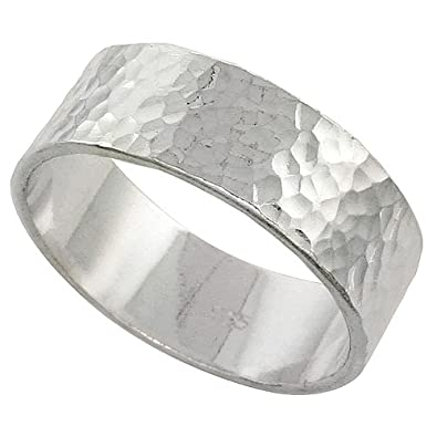 sterling silver 8 mm hammered wedding band ring flat top handmade 516 inch wide