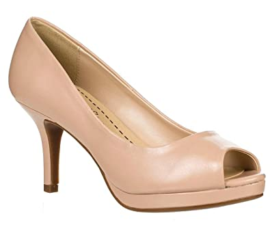 1b2670c79 Amazon.com | Women's Comfort Insole Mid Heel Peep Toe Pump | Pumps
