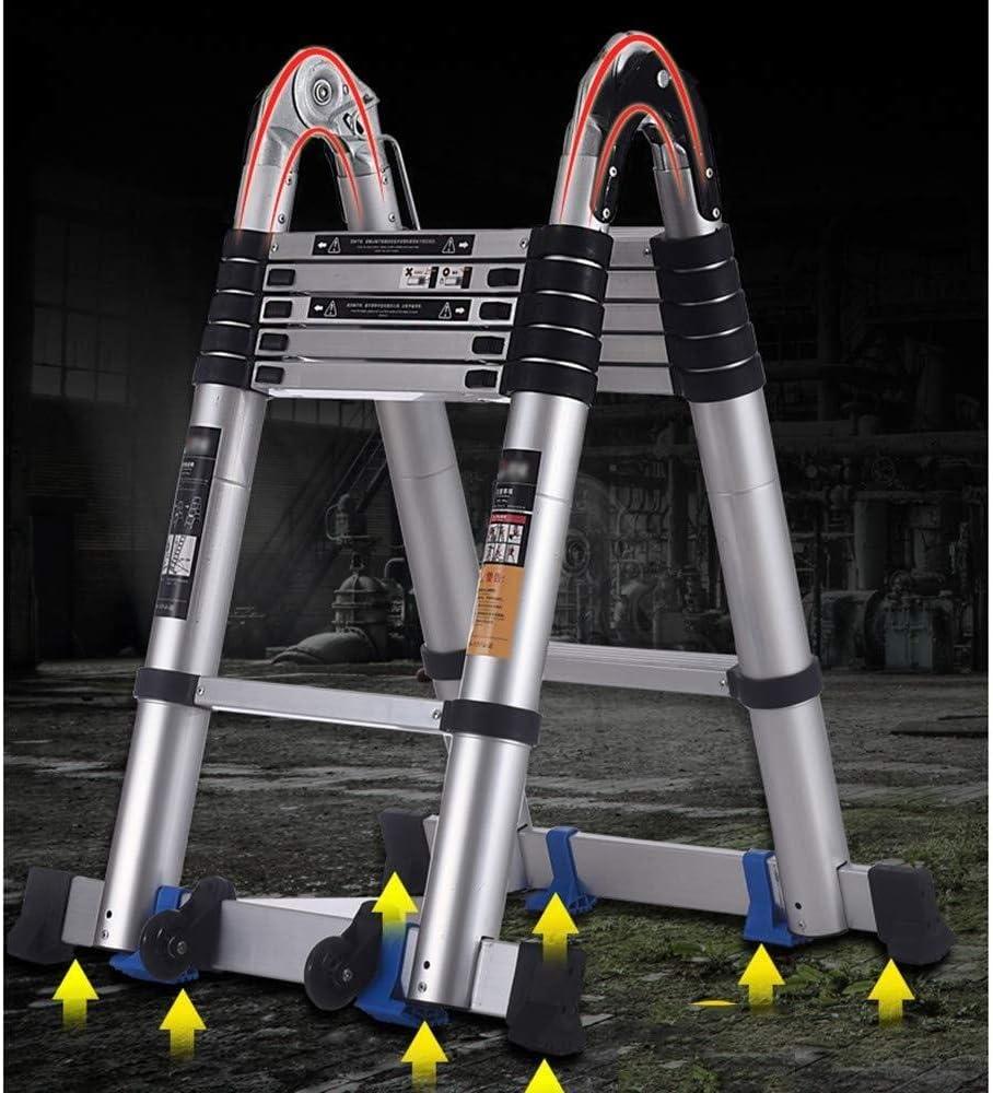 Escabeau Multifonctionnel télescopique Ladder Pliable Extension Type A Ladder Droite Ladder portantes 150 kg QIQIDEDIAN (Color : Dual-Purpose Ladder) Dual-purpose Ladder