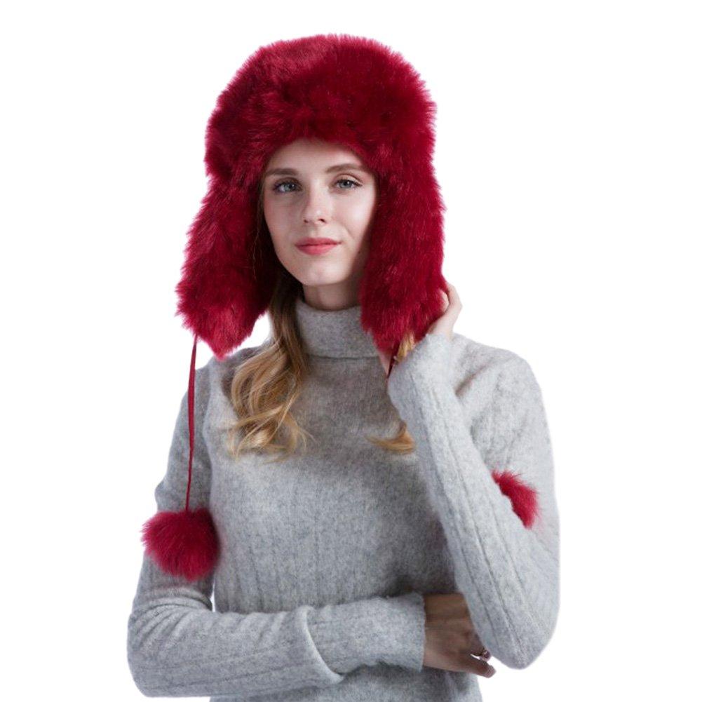 Genda 2Archer Women's Warm Outdoor Faux Fur Russian Earflap Hat with Pom Pom (Wine Red)