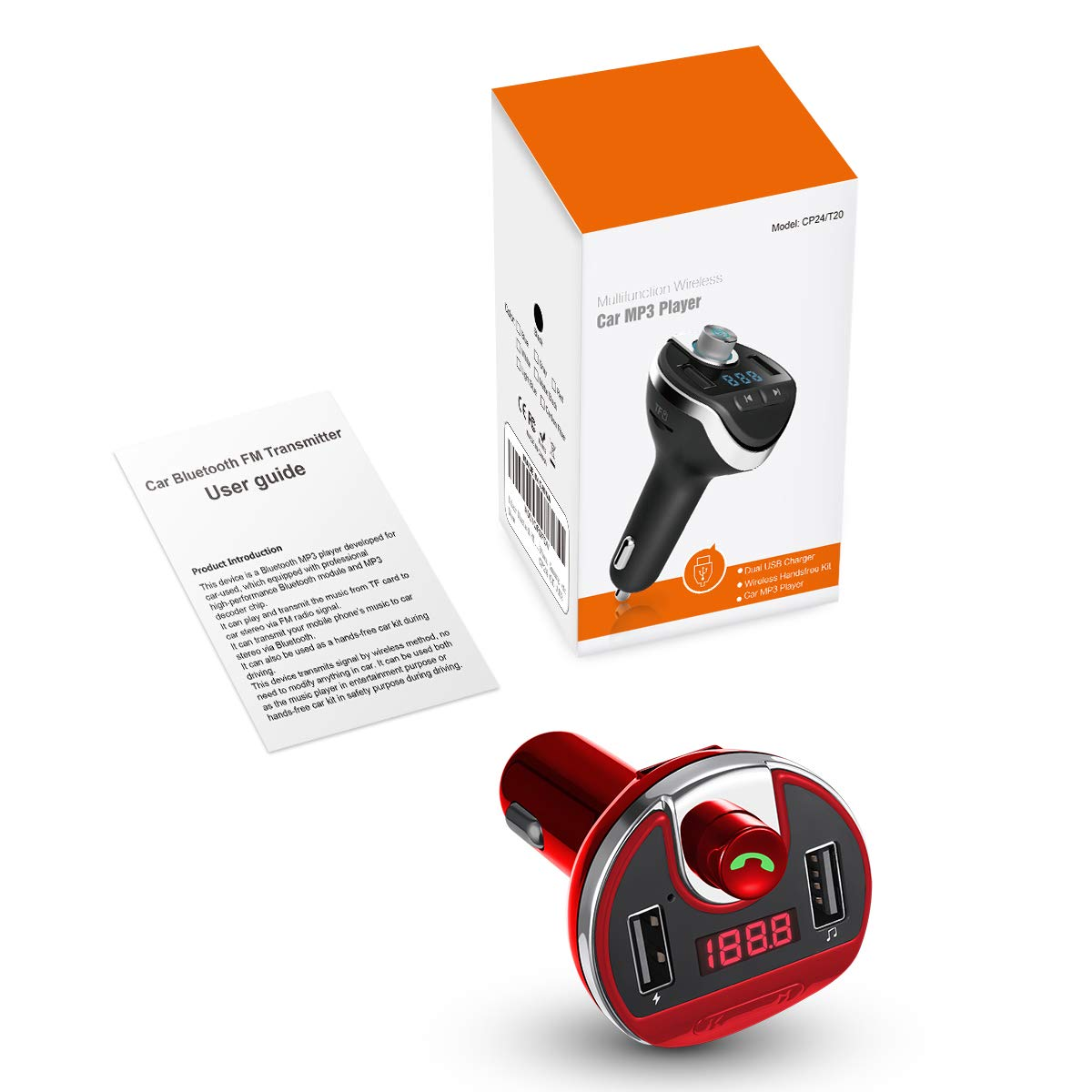 Universal Car Charger with USB Charging Ports Wireless FM Radio Adapter Car Kit Upgraded Red U Disk// TF Card Support KeeKit Bluetooth FM Transmitter for Car Hands-Free Calling MP3 Music Player