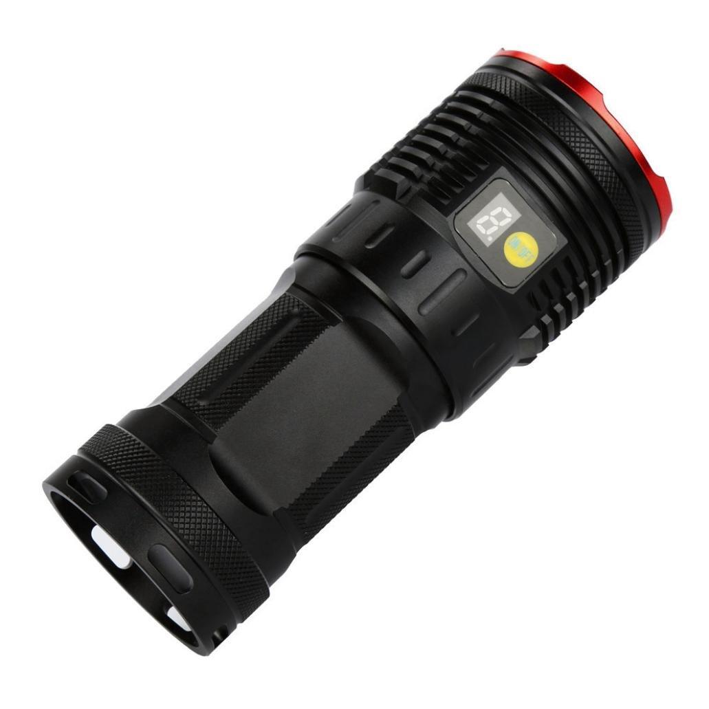 3 ajustes claro con 4 x 18650 bater/ía de litio recargables Rojo LED Linterna 50000 l/úmenes fundido Power 15 x XM-L T6 LED Pantalla Digital superbrillantes CREE LED impermeable port/átil antorcha