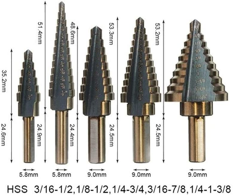 Drill Bits Sets High Speed Steel Cobalt Step Drill Set Porous 50 Size Wood Metal Hole Taper Drill Set Round Handle Pagoda Drill (Color : TIN Box and Punch) 5pcs Nitrid Opp