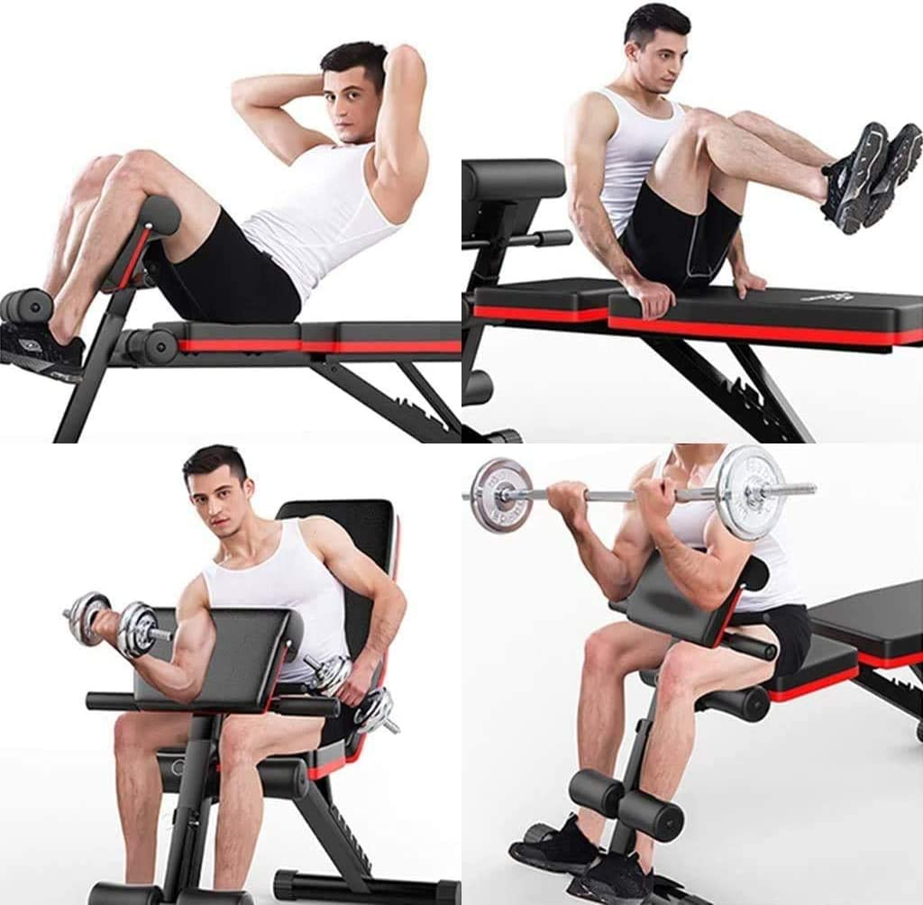 5 Adjustable Angles Weight Benches for Full Body Workout Black-Red, Adjustable Foldable Flat//Incline//Decline FID Bench Press for Home Gym Adjustable Weight Bench