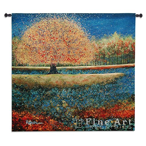Jewel River by Melissa Graves - Woven Tapestry Wall Art Hanging for Home & Office Decor - Color Contrast Nature Landscape Vibrant Earth Tones Impressionist Style - 100% Cotton - USA 50X51