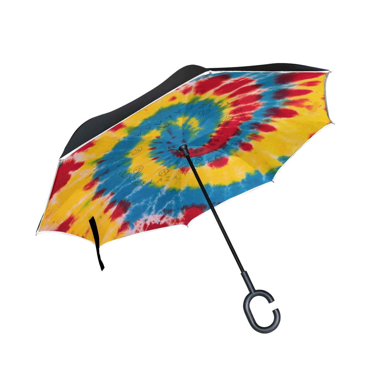 Alaza Colorful Tie Dye SwirlスパイラルInverted傘二層防風Reverse折り畳み傘for Car with c-shapeハンドル   B076CCT4SD