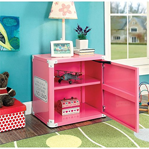 Furniture of America Ramirez Metal Racecar Nightstand in Pink