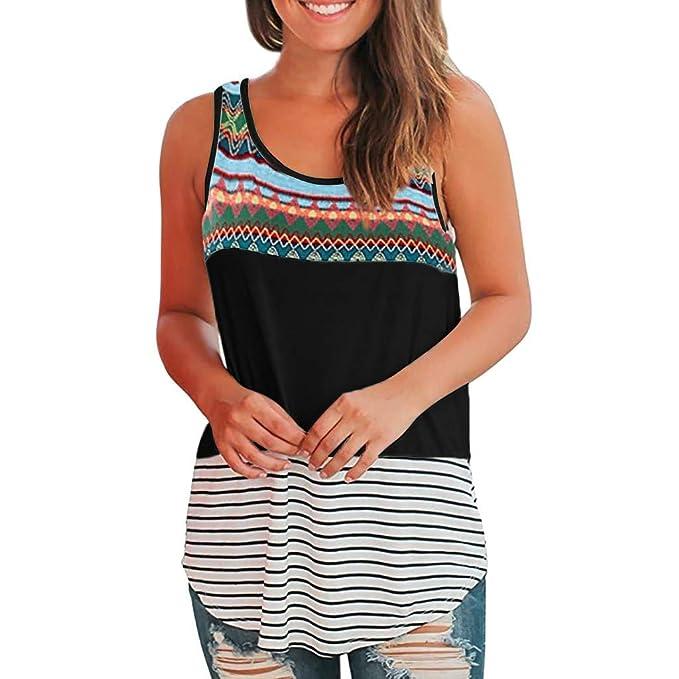 ... Mujeres Chaleco a Rayas Cosido Estampado sin Mangas Sueltos Verano Mujer Tank Blusa Camiseta Crop Tops: Amazon.es: Ropa y accesorios