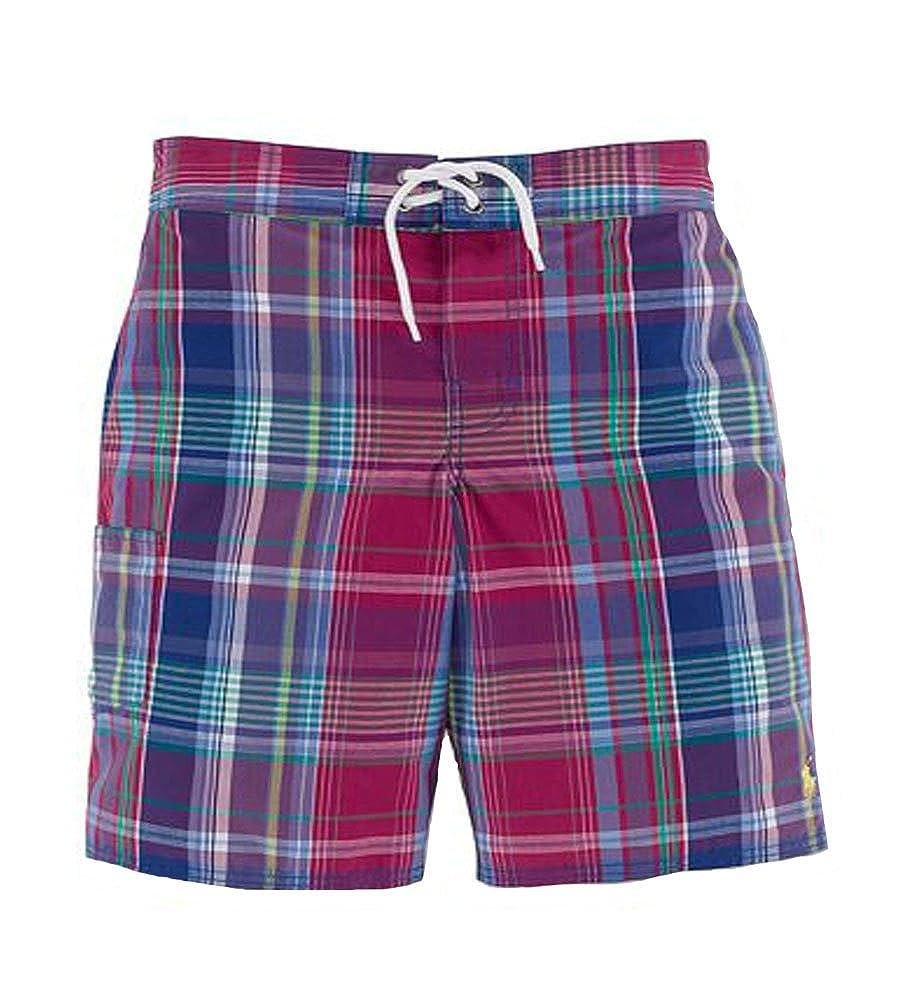 RALPH LAUREN Polo Boys Plaid Swim Trunks Shorts 6