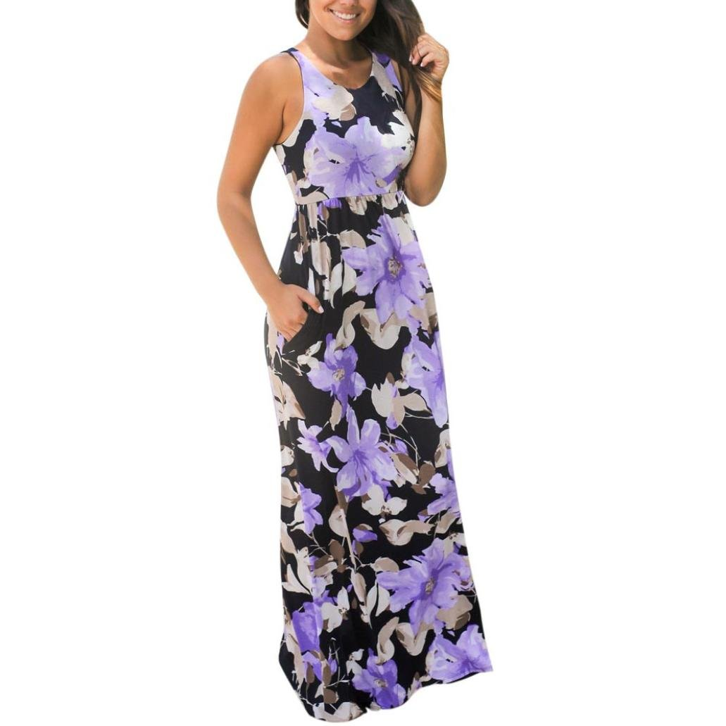 Yang-Yi Clearance, Hot Fashion Women Spring Sleeveless Floral Print Maxi Floor-Length Dress With Pockets (Purple, XS)