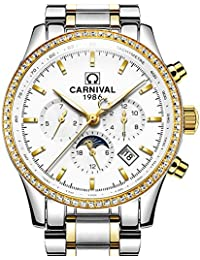 Mens 25 Jewels Automatic Gold Watches Mineral Mirror Moon Phase Calendar 24 Hours Luminous Watch White