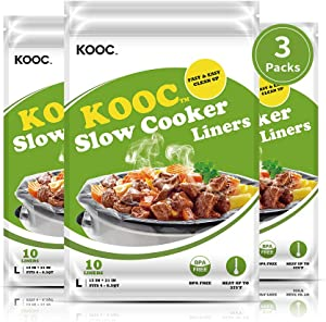 "[NEW PACK] KOOC Premium Disposable Slow Cooker Liners and Cooking Bags, Large Size Fits 4QT To 8.5 QT Crock Pot, 13""x 21"", 3 Packs (30 Counts), Equipped with Fresh Locking Seal Design, Suitable for Oval & Round Pot, BPA Free"