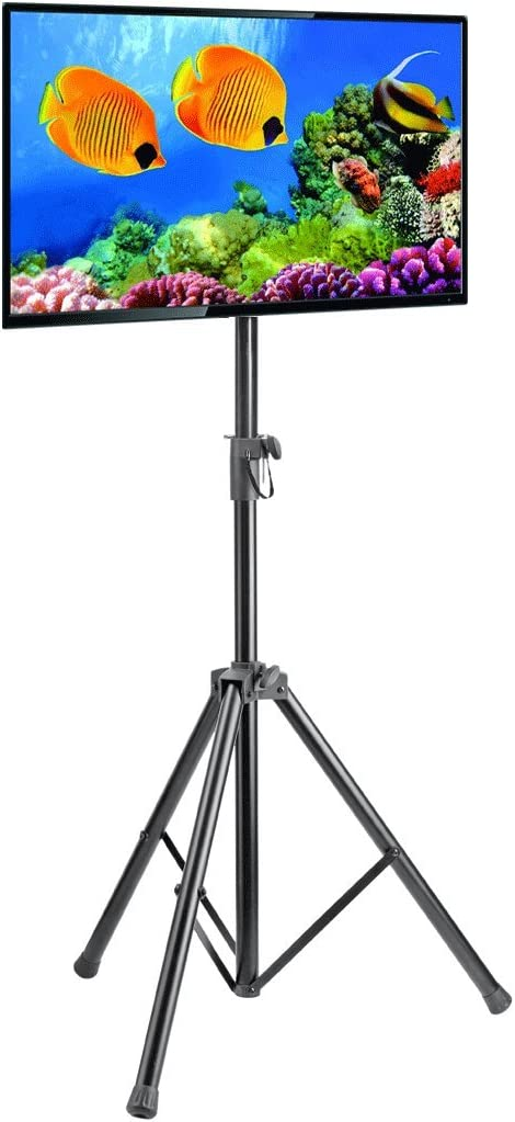 Elitech Portable Tripod TV Stand for 23 to 42 Flat Panel TV, Height Adjustable.