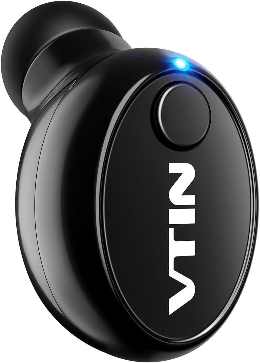 VTIN Mini Auricolare Bluetooth, Wireless, USB Supporto di Ricarica e Microfono Stereo per Smartphone iPhone, Samsung, Huawei, Xiaomi e Altri, Nero