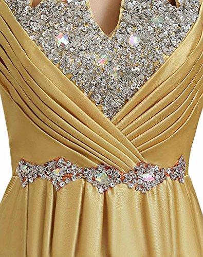 Perlen Luxus Gold Kleider Brautjungfer Ballkleider Lange Damen Izanoy Kristall wAqIHvOH