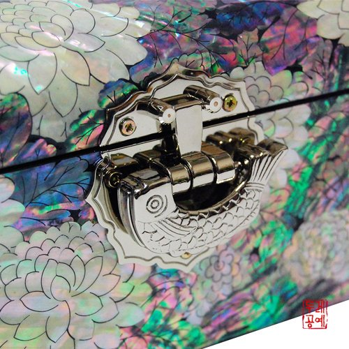 Silver J Wooden Lacquered Jewelry Box, Mother of Pearl Jewellery Box, Handmade Oriental Gift, Luxurious Peacock. by Silver J (Image #4)