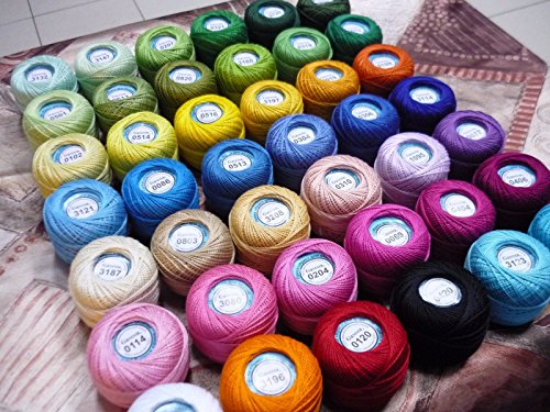 100% Mercerized Cotton Yarn Hand Knitting Lace Crochet Thread Assorted Yarn Skeins Colors Huge Mixed Lot of 42 skn 420gr 3990yds Multicolor (Openwork Huge)