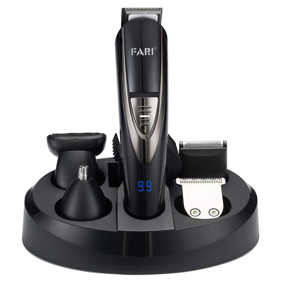 FARI Multifunctional Electric Beard Trimmer Set, Fully Washable Men's Grooming Kit, Professional Cordless Hair Clipper for Men and Mustache Nose Trimmers Shaver Suit (Black & Silver)
