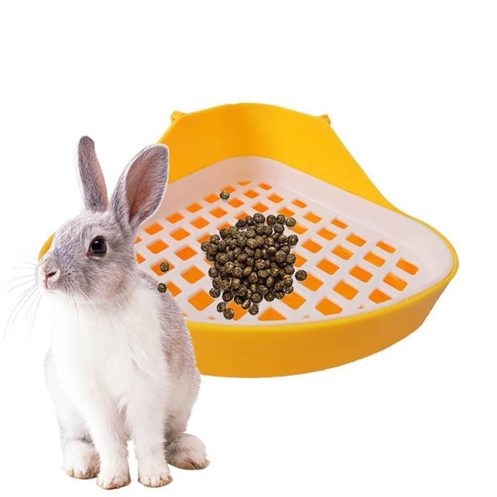 Aolvo Cuenco para inodoro para mascotas, bandeja de orinal para pequeños animales, caja de esquina extraíble para conejo, hámster, gato, chinchilla