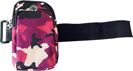 Nicedeal Brazalete deportivo de Ejecución de gimnasia Smartphone universal Bolsa Brazo con bolsillos para auriculares agujero multifuncionales para todo el teléfono celular 6 pulgadas (camuflaje rosa): Amazon.es: Deportes y aire libre