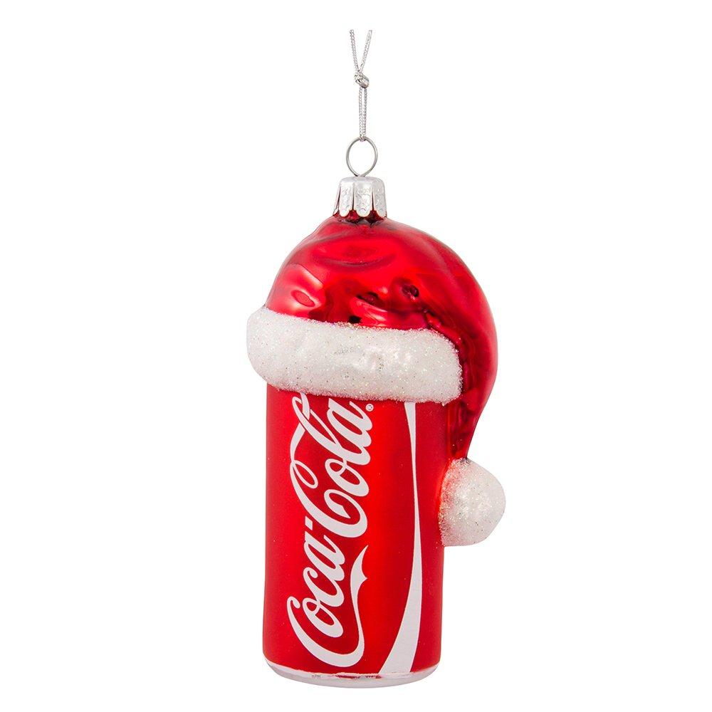 Kurt Adler 4-1//2-Inch Glass Coca-Cola Can with Santa Hat Ornament