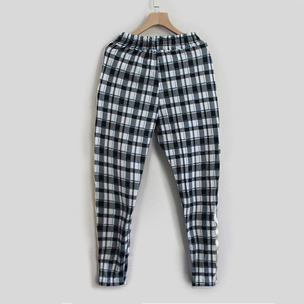 Summer Fashion Casual Breathable Mens Plaid Straps Feet Pants Palarn Casual Athletic Cargo Pants Clothes