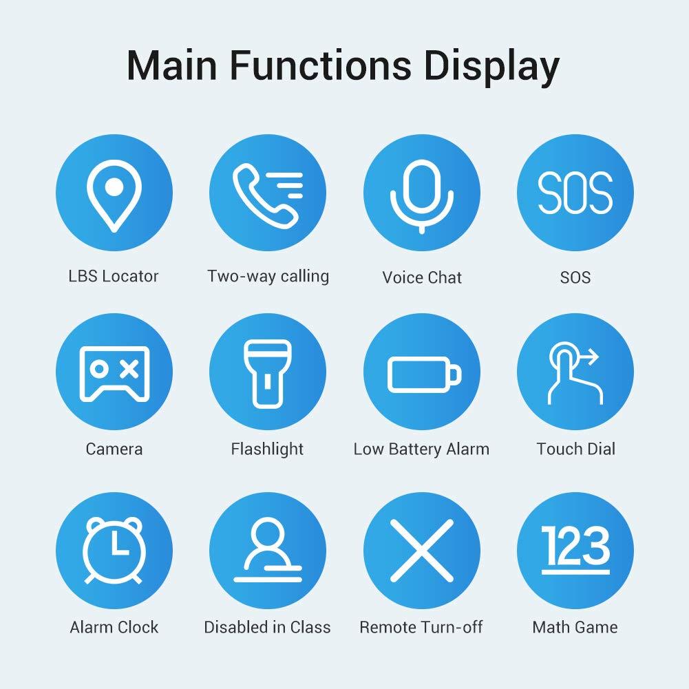 Openuye Kinder Smartwatch, Smartphone mit LBS-Standort, SOS, 1,44-Zoll-LED-Touchscreen-Uhr mit Digitalkamera, SIM-Anrufe, Wecker für Jungen und Mädchen, kompatibel mit iOS und Android(Blau)