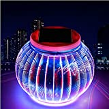 TechCode Solar Desk Night Light, Solar Color Changing 3D Pattern Night Lights Weatherproof Crystal Glass Globe Ball Lighting for Garden Patio Party Yard Outdoor/Indoor Decorations(Lantern Pattern)