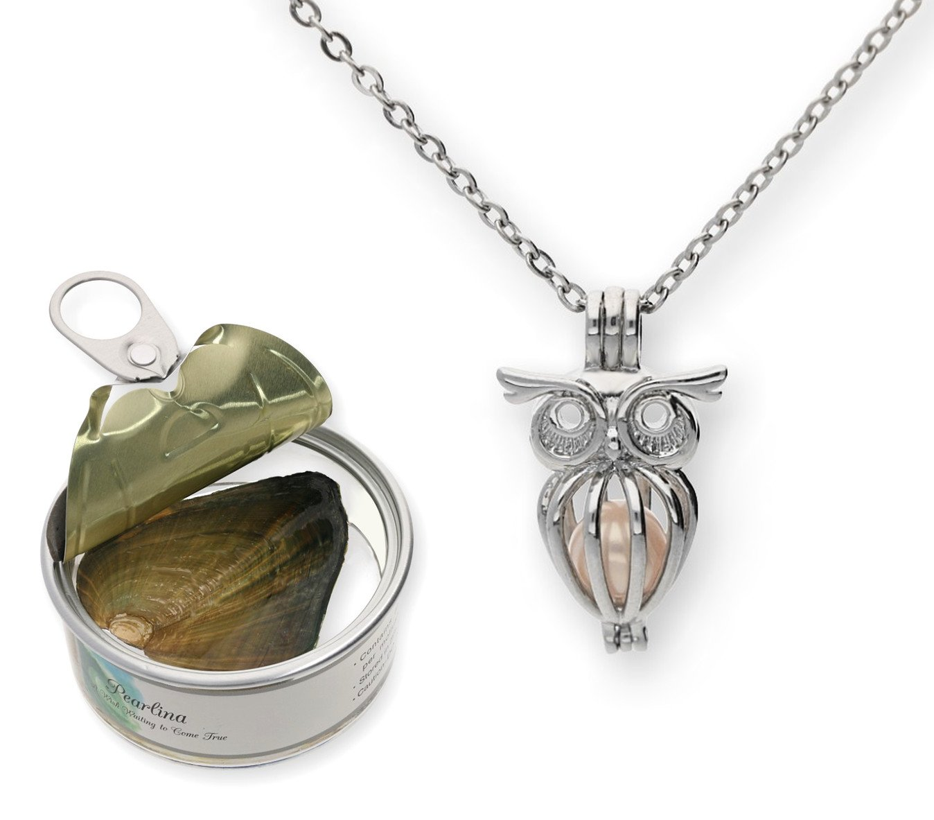 Pearlina Owl Cultured Pearl in Oyster Necklace Set Silver-tone Cage w/Stainless Steel Chain 18''
