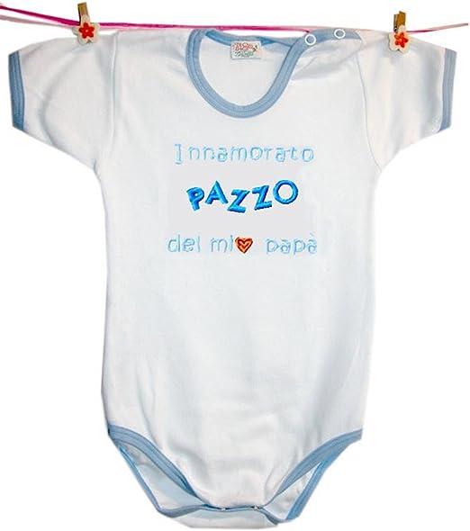 Zigozago Body Made in Italy a Manica Corta Fatto a Mano in Cotone con Scritta Innamorato Pazzo di Mio Zio