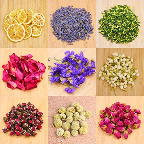 Dried Flowers,Artisan Dried Flower Kit - Candle Making, Soap Making,DIY Soap, Natural Flowers,AAA Food Grade-Lemon,Lavender,Roseleaf,Pink Rose,Red Rose,Jasmine Flower,Rose Petal,Sea Lavender- ()