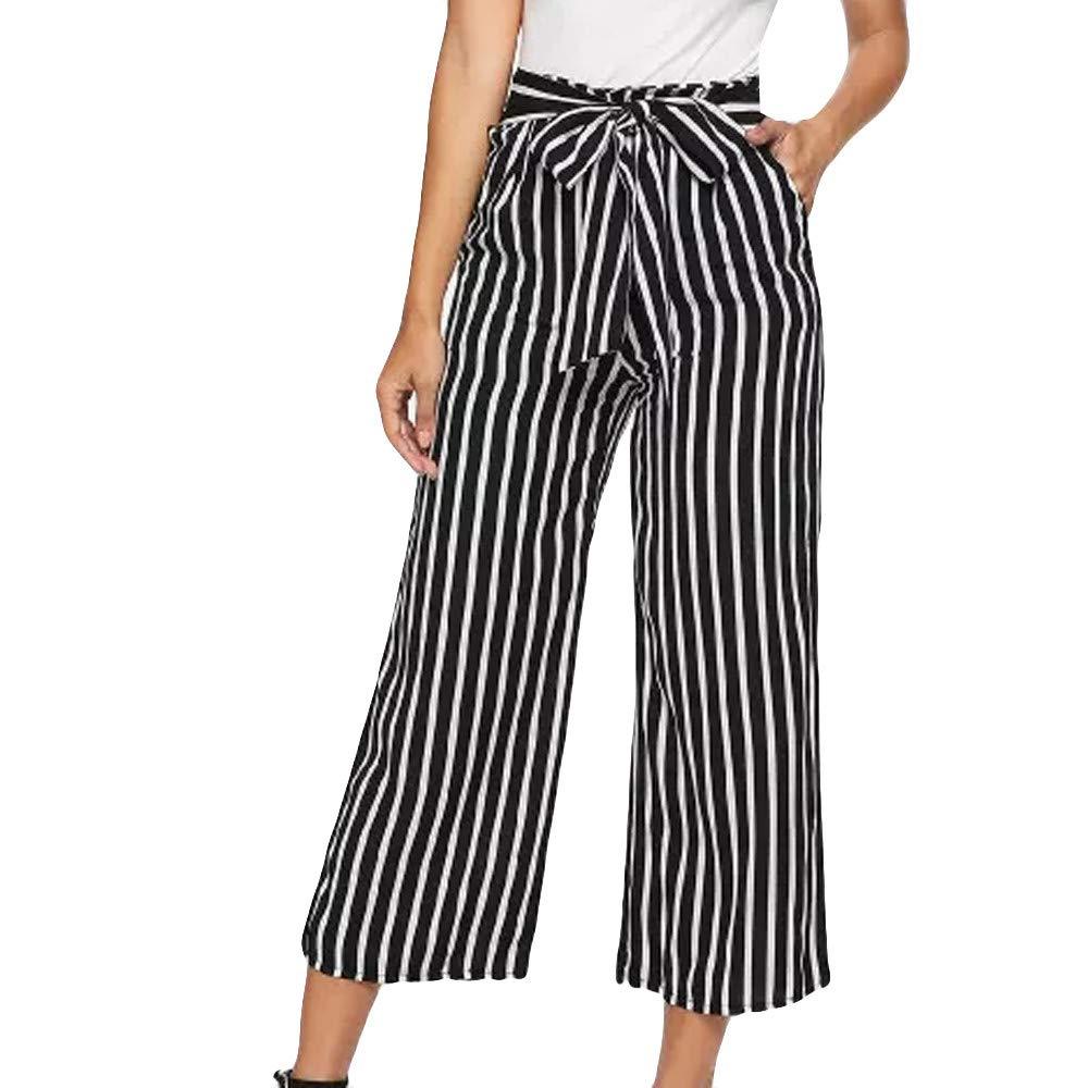 UONQD Women Bandage Fashion High Waist Stripe Print Fashion Wide Leg Pants (Medium,Black)