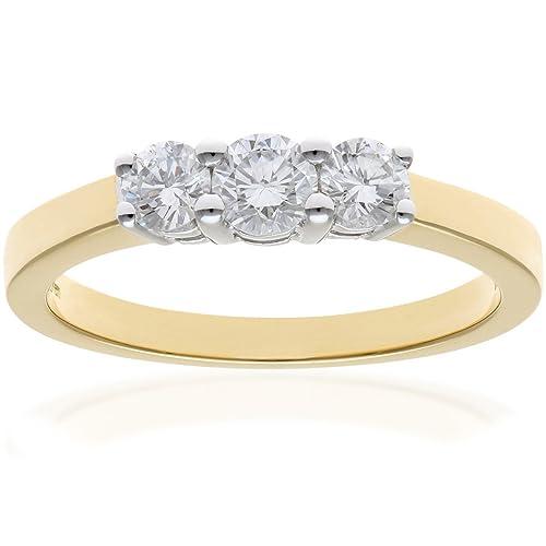 Naava - Anillo para Mujer de Oro Amarillo 18K con Diamante 0.5 ct Talla 16
