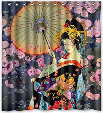 Funny Design Japanese Art Geisha Girl Psychedelic Shower Curtain 66quotw X 72quot