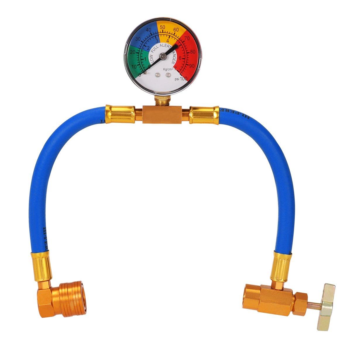 WINOMO R134 a tubo di ricarica di refrigerante per aria condizionata con indicatore per auto, 1/2 filo per America e Europa 1/2filo per America e Europa